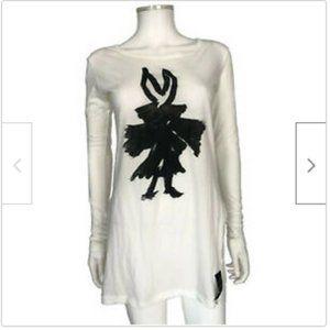 Yohji Yamamoto White Black LS T-Shirt size Small 2